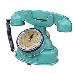 B Blesiya Vintage Antique Handset Phone European Rotary Dial Telephone Desk Clock Time Non Ticking Silent Sweep