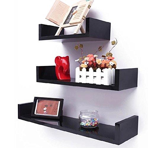 (ncient U Shape Floating Wall Shelves Wall Mount Shelf Bookshelf Unit Organizer Display Storage [US STOCK] (Black.))