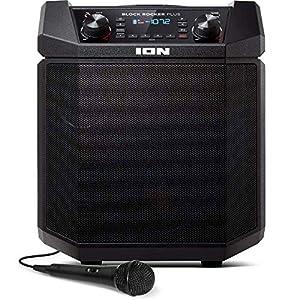 ION Audio - Block Rocker Plus - Enceinte Bluetooth Portable 100 W, Batterie, Radio AM / FM, Entrée AUX, Roulettes et Poignée Télescopique, Microphone, Câble et Port USB pour Smartphones et Tablettes 7