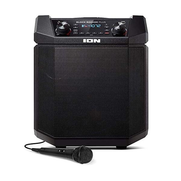 ION Audio - Block Rocker Plus - Enceinte Bluetooth Portable 100 W, Batterie, Radio AM / FM, Entrée AUX, Roulettes et Poignée Télescopique, Microphone, Câble et Port USB pour Smartphones et Tablettes 1