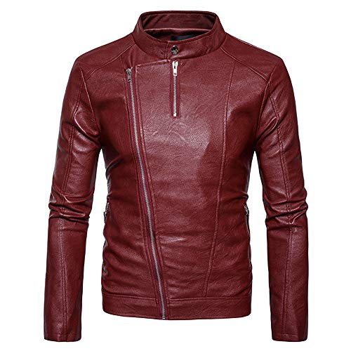Tomatoa Men Leather Coat,Men's Fashion Jacket Slanted Zipper Zipper Stand Collar Imitation Leather Coat Casual Wild Coat Red