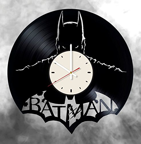 Batman vinyl wall clock - handmade artwork unique home bedroom living kids room nursery wall decor great gifts idea for birthday, wedding, anniversary - customize your (White/White)
