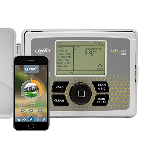 Orbit 57946 B-hyve Smart Indoor/Outdoor 6-Station WiFi Sprinkler System Controller, Compatible with Alexa