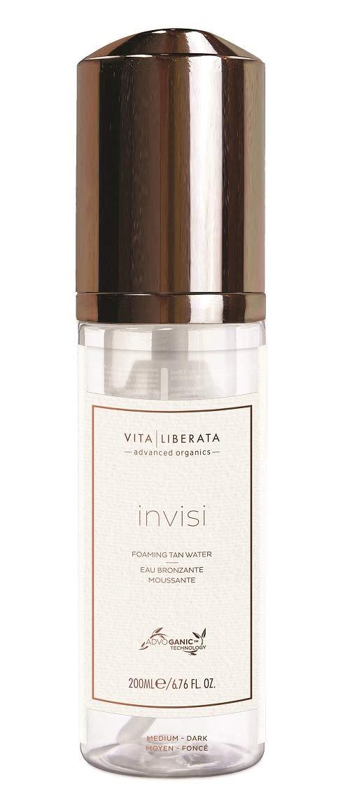 Invisi Sunless Tanning Mousse - VITA LIBERATA Invisi Clear Foaming Self Tan Water, Organic, Natural and Vegan Fake Tan Medium-Dark 6.76 fl. Oz.