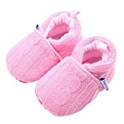 Beeliss Baby Loafers Winter Warm Knitted Cirb Shoes (0-6 Months, Pink)