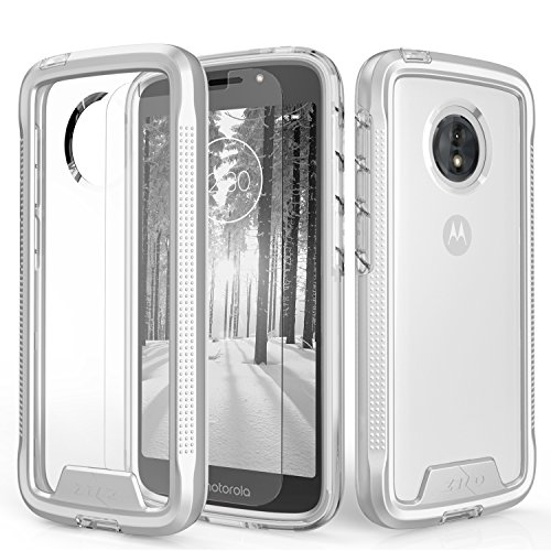 Zizo Ion Series Compitable with Moto e5 Cruise Case Military Grade Drop Tested with Tempered Glass Screen Protector e5 Play Silver Clear