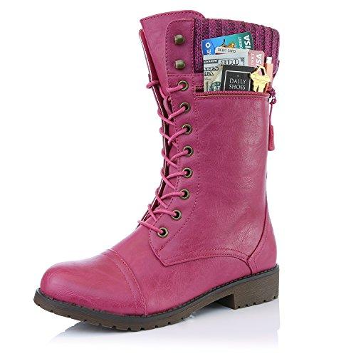 Dailyshoes Donne Stile Di Combattimento Su Stivaletto Caviglia Trapuntato Militare A Maglia Carta Di Credito Coltello Portafoglio Soldi Tasca Stivali Hot Pink Pu
