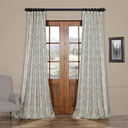 Half Price Drapes Ptpch-170807-84 Tabriz Printed Faux Silk Taffeta Blackout Curtain, 50 x 84, Green