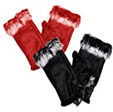 Peach Couture Womens Fashionable Finger less Fur Trimmed Size Adjusting Winter Gloves 2 Pack (Red and Black)