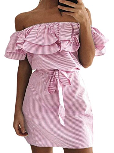 Dress Women's Off Stripe Ruffle Club Cromoncent Belted Midi Pink Shoulder 8pHqUw