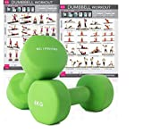 KG Physio Premium quality dumbells for women and men, sold as a set of 2 (BONUS A3 WORKOUT POSTER) *Anti-Roll* design ideal for home weights workout