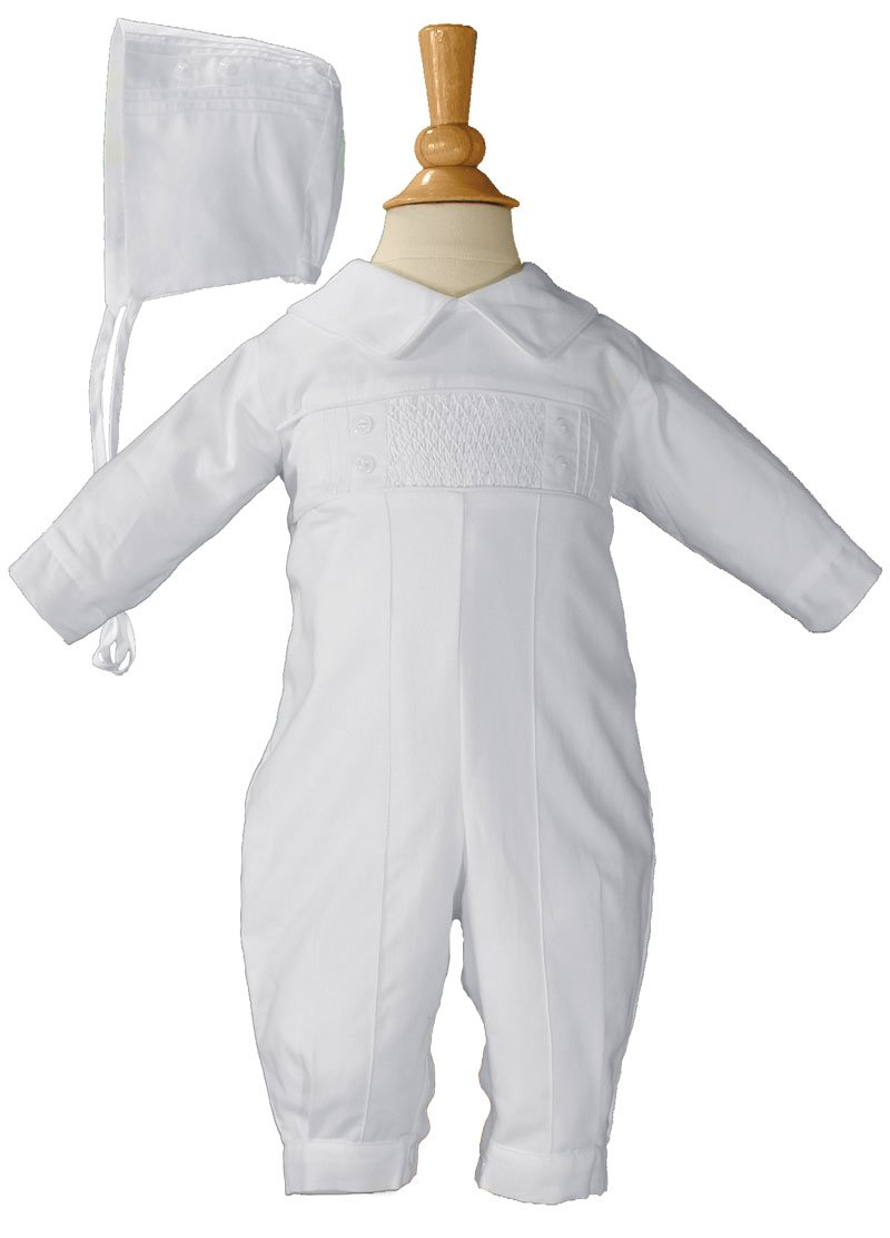 Boys Cotton Christening Coverall Christening Romper Baptism Infant with Hat 18M