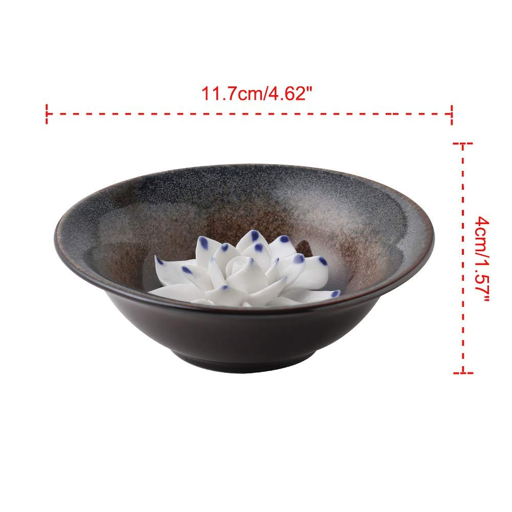 Uniidea Incense Burner Bowl, Ceramic Handicraft Incense Holder for Sticks, Coil Lotus Ash Catcher Tray 4.62 Inch Gray by Uniidea (Image #2)