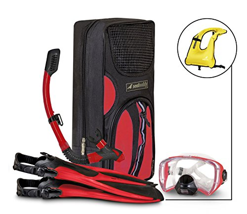 SealBuddy FIJI Panoramic Snorkel set + Premium Travel Gear Bag (Red/Black, Large/XL Size 8 to 12)