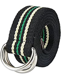 Mens 51 inch Double D-Ring Canvas Web Belt Casual Stripe or Solid Pattern