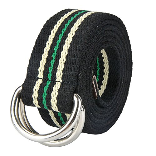 Faleto Mens 51 inch Double D-Ring Canvas Web Belt Casual Stripe or Solid Pattern,Steel D Ring-Black & Green Stripes
