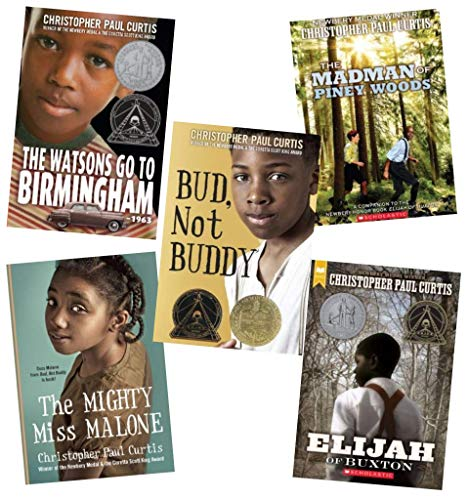Christopher Paul Curtis Set of 5 Award Winning Paperbacks Includes the Madman of Piney Woods, the Watsons Go to Birmingham, Bud, Not Buddy, Elijah of Buxton & the Mighty Miss Malone (Author Of The Watsons Go To Birmingham)