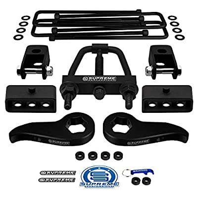 "Supreme Suspensions - Full Lift Kit for 2011-2020 Silverado Sierra 2500HD 3500HD Adjustable 1"" to 3"" Front Lift Torsion Keys + 2"" Rear Blocks + Square U-Bolts + Shock Extenders + Torsion Tool: Automotive"