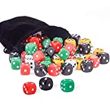 AUSTOR 50 Pieces 6 Sided Dice Set 5 x 10 16mm