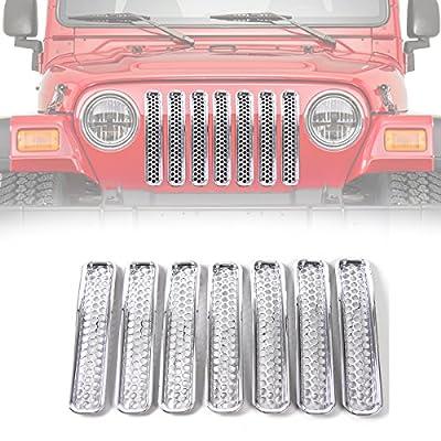 RT-TCZ Chrome Honeycomb Mesh Front Grill Inserts Kit for 1997-2006 Jeep Wrangler TJ & Unlimited - (7PCS): Automotive