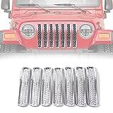 RT-TCZ Chrome Honeycomb Mesh Front Grill Inserts Kit for 1997-2006 Jeep Wrangler TJ & Unlimited - (7PCS)