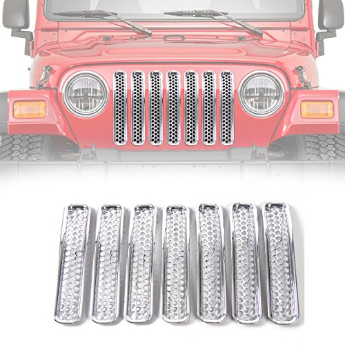 Chrome Grill Kit - RT-TCZ Chrome Honeycomb Mesh Front Grill Inserts Kit for 1997-2006 Jeep Wrangler TJ & Unlimited - (7PCS)