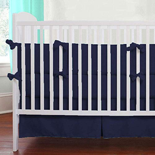 (Crib Bed Skirt Pleated, 600TC 100% Egyptian Cotton Tailored Nursery Crib Toddler Bed Skirts 14 Inch Drop for Baby Boys or Girls (Color - Solid Navy Blue) )