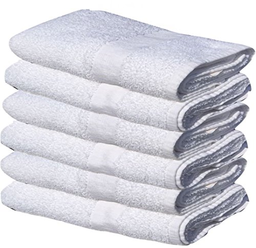 60 NEW WHITE 22X44 100% COTTON ECONOMY BATH TOWELS EXTRA ABSORBENT QUICK DRY (5 Dozen) by Gold Textiles