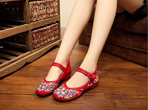 Jane Femme Randonne Style Lazutom Broderie Rouge Chaussures De Mary Dcontracte Chinois ZzqpE