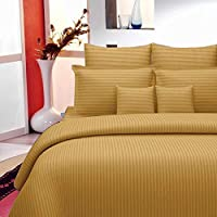 Sheets and Covers Plain Striped Design 275 cm X 275 cm Super King Size Bedsheet 220 Thread Count with 2 Pillow Cover