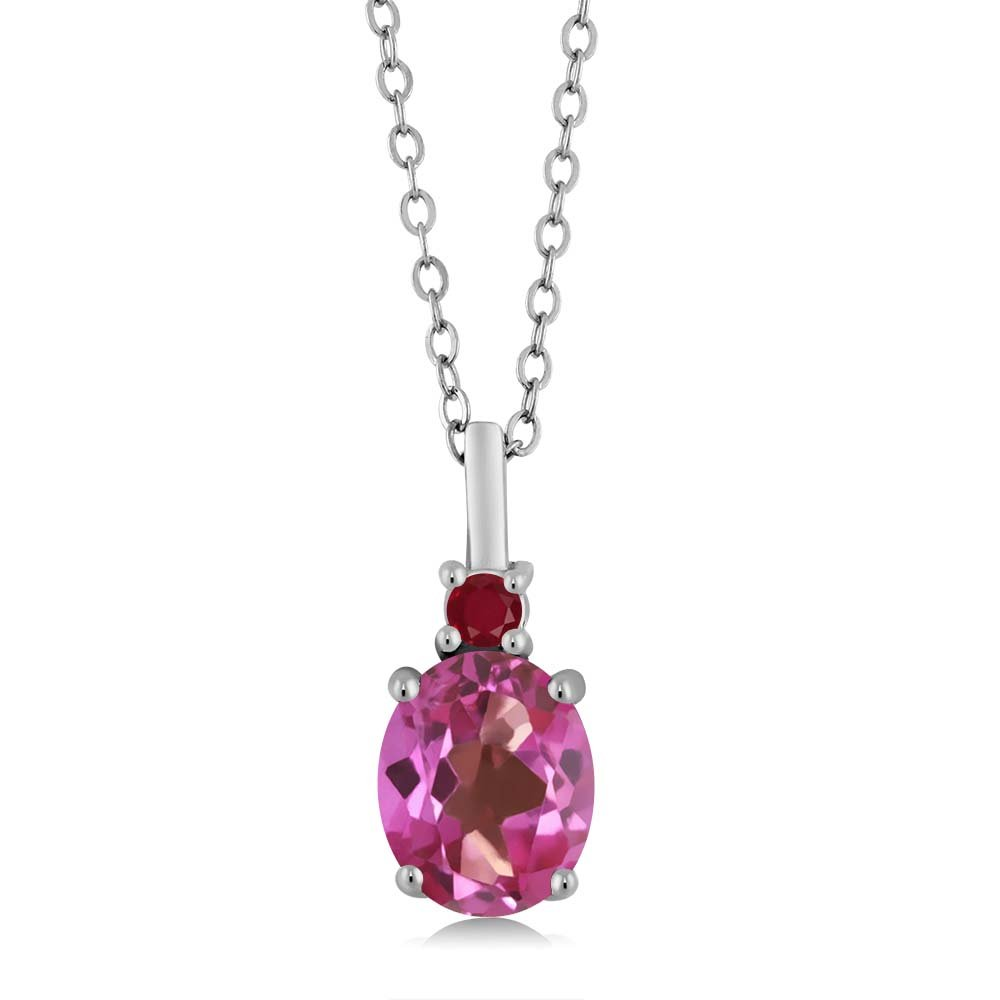 Gem Stone King 2.42 Ct Oval Pink Mystic Topaz Red Ruby 925 Sterling Silver Pendant