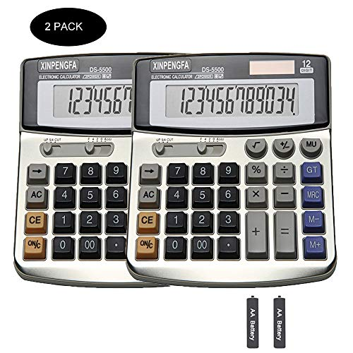 XINPENGFA Office Calculator, Solar and Battery Dual Power, Metal Surface 12 Digit Display Big LCD and Large Button(Pack of 2)