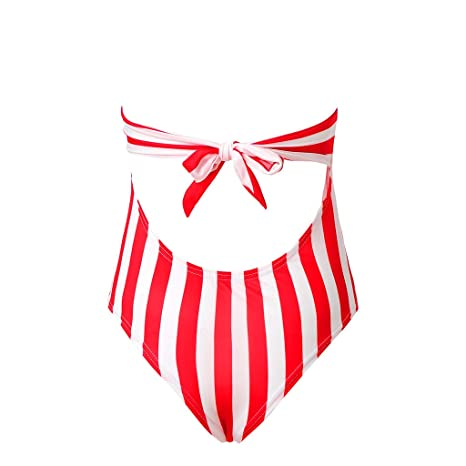 14b4e76215 Lywey Womens Swimming Stripe Padded Swimsuit Push Up Bikini One Piece  Swimwear Bathing Suit Beach Swimwear Monokini Red at Amazon Women s  Clothing store