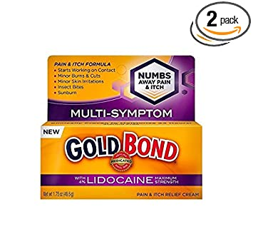 Gold Bond Medicated Pain & Itch Relief Cream with Lidocaine Maximum  Strength - 1 75 oz, Pack of 2
