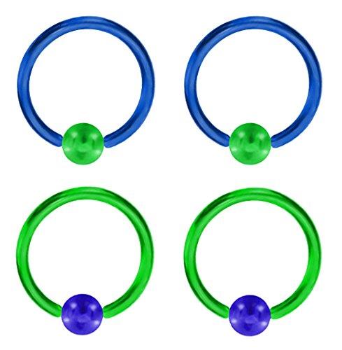 "2 Pair of Unique Custom Green & Blue Captive bead Ring lip, belly, nipple, cartilage, tragus, septum, earring hoop - 14g 1/2"""