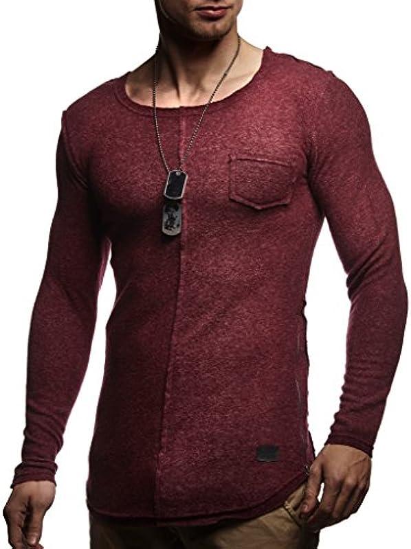 Leif Nelson Męski sweter okrągły dekolt czarny męski długi rękaw cienki sweter bluza z długim rękawem Crew Neck chłopcy bluza z kapturem t-shirt z długim rękawem Oversize