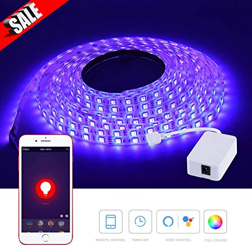 Smart LED Strip Lights 16.4 Foot / 5 Meter, WiFi Wireless Smart Phone Controlled Light Strip, Waterproof 300 LEDs, Work with Amazon Alexa, Echo, No Hub Required, Compatible with Android and iOS