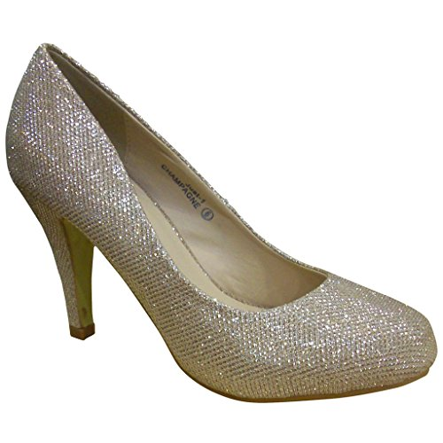 Mesh Ladies Pumps - Bella Marie Women's Just-1 Champagne Mesh Glittery Mid Heel Pumps - 10