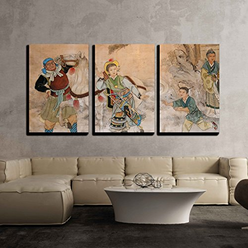 Framed Asia (wall26 - 3 Piece Canvas Wall Art - Chinese Classic Wall Drawing - Modern Home Decor Stretched and Framed Ready to Hang - 24