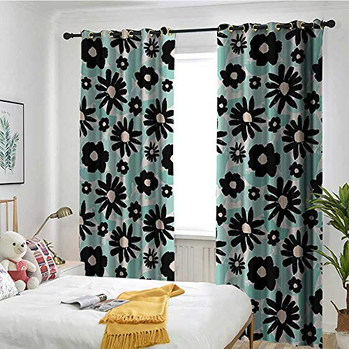 TRTK Decorative Curtains for Living Room Shading Insulation Cable Ring Screen 2 Panel Floral,Hand Painted Style Flowers on a Background of Green Brushstrokes Art,Mint Green Black ()