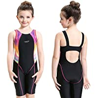 Etzion Swimsuits for Girls, One-piece Athletic Swimwear with Full Knee Length, Fast Dry Suit for Beach Volleyball