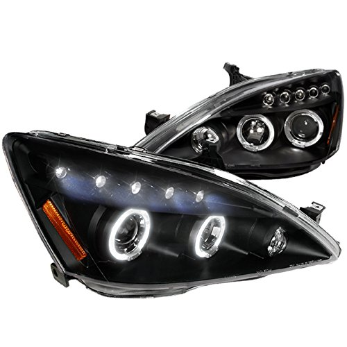Spec-D Tuning 2LHP-ACD03JM-TM Honda Accord Halo Led Projector Headlights Black - Honda Accord Projector Lights