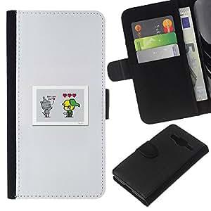 LECELL--Cuero de la tarjeta la carpeta del tirón Smartphone Slots Protección Holder For Samsung Galaxy Core Prime -- Lindo Comic --