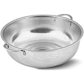 Stainless Steel Colander - Micro-Perforated Strainer - Strain Pasta, Noodles, Orzo, Vegetables, Fruits and More - by Utopia Kitchen