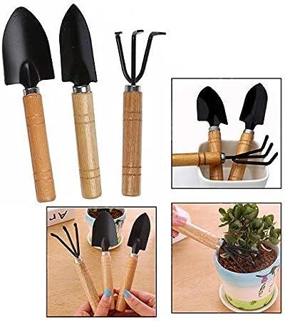 OFKPO Set de 3 de Mini Jardín Planta Herramienta Jardín Pala, Mango de Madera Herramientas de Jardinería Mini Conjunto