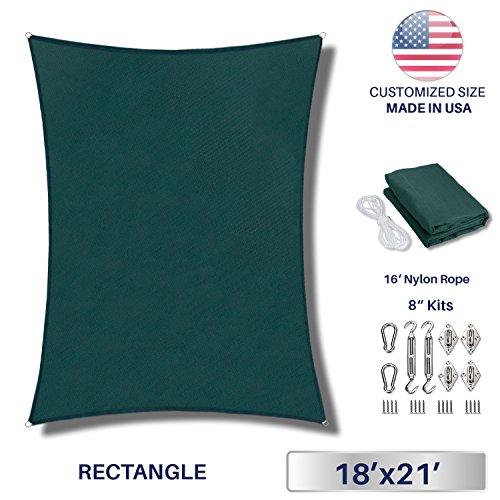 Windscreen4less 18' x 21' Rectangle Sun Shade Sail with 8 inch Hardware Kit - Green Durable UV Shelter Canopy for Patio Outdoor Backyard - Custom (Covered Sandbox Kit)