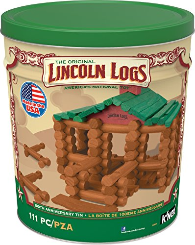 K'NEX LINCOLN LOGS – 100th Anniversary Tin - 111 All-Wood Pieces – Ages 3+ Construction Education (Kids Log)