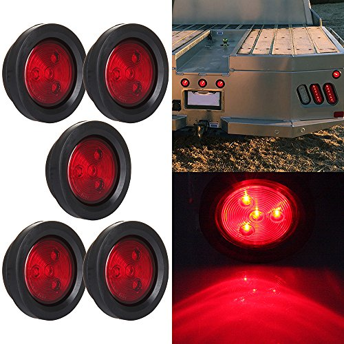 "5 Pcs Red Side Marker Light 2.5"" Round 4 LED Custom Mini Stop Turn Brake Tail Light Kits"