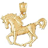CleverEve 14K Yellow Gold Pendant Horse 2.2 Grams