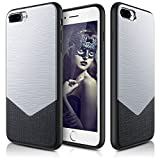 iPhone 7 Plus Case, LOHASIC Hybrid Metal [Aluminum Matte Finish] Soft Luxury Leather Flexible TPU Bumper Grip Protective Armor Cases Cover for iPhone 7 Plus - 5.5inch